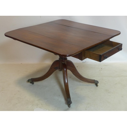 108 - A 19th century mahogany Pembroke table, with single drawer and faux drawer, raised on turned support...