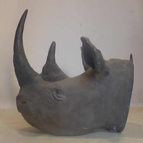 109 - A 19th century Rowland Ward rhino head, with faux horns, once featured in Viktor Wynd's cabinet of w...