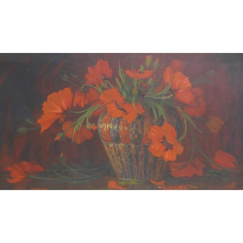161 - Guillaume G. A. Eberhard (1879-1949), 'Poppies in a Vase', oil on canvas, signed lower left, 58 x 10...