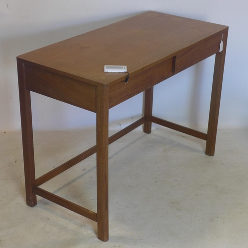 201 - A 20th century teak desk with 2 drawers, H.74 W.102 D.49cm...