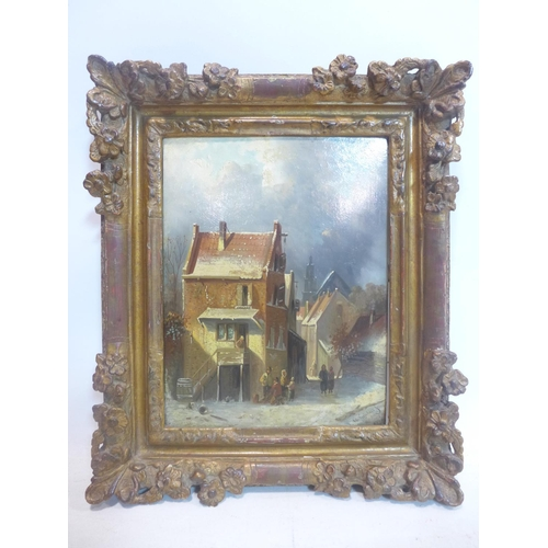 220 - Charles Leickert (1816-1907), View of a village in winter, oil on panel, signed lower right, in gilt...
