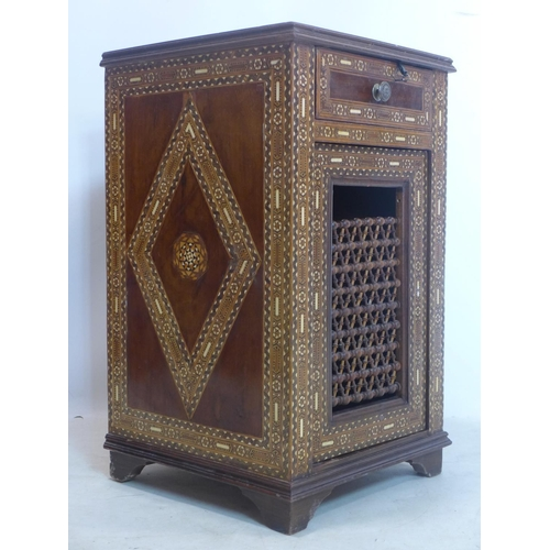 235 - A late 19th/early 20th century Syrian Damascus inlaid side cabinet, H.71 W.42 D.41cm...