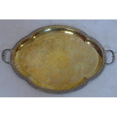 264 - A French silver gilt serving tray by Leon Lapar, in box with certificate, 60oz...