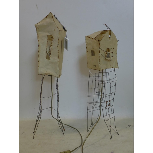 269 - Two wire work lamps with velum shades...