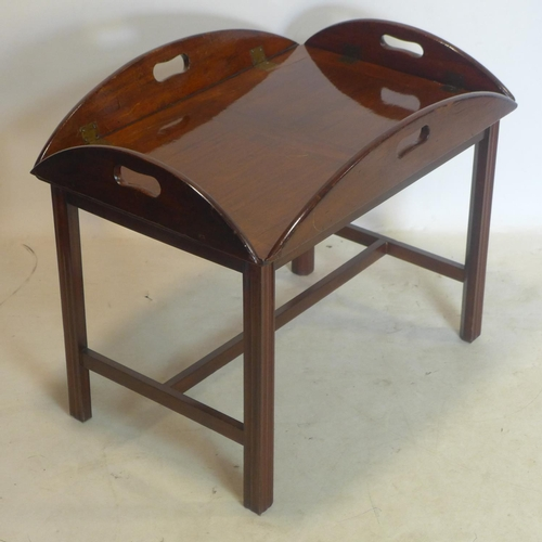 289 - A mahogany butlers tray fitted to stand, H.58 W.71 D.48cm...