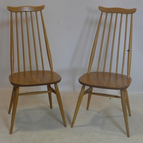 305 - A set of six 1960's Ercol Goldsmith elm dining chairs, stamped to bases...