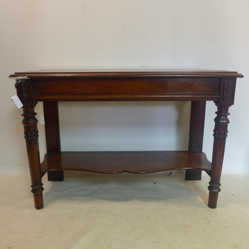 511 - A Victorian mahogany 2 tier console table, H.83 W.121 D.49cm...