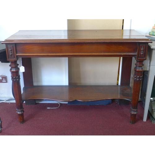 511 - A Victorian mahogany 2 tier console table, H.83 W.121 D.49cm...