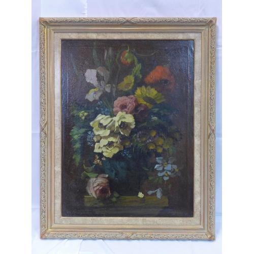 513 - W. A. Gijzeman (Belgian, 1887-1957), Still life of flowers in a vase, oil on canvas, signed lower ri...