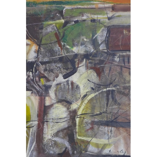 519 - David Venables, Yorkshire artist, English b.1943, abstract mining scene, oil on canvas, signed lower...