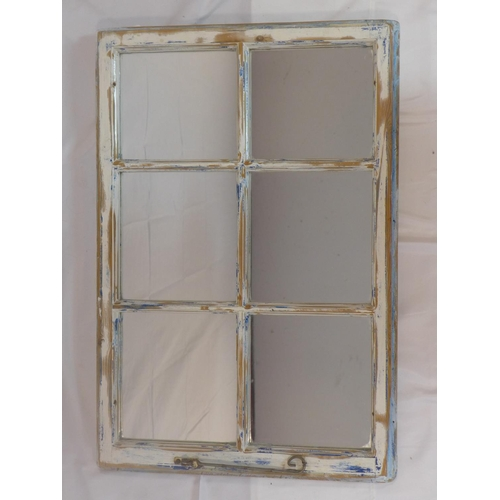 528 - A painted pine window frame with mirrored back panel, 84 x 57cm...