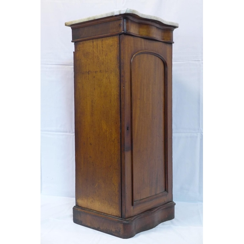 534 - A Victorian mahogany pedestal cabinet with marble top, H.101 W.43 D.42cm...
