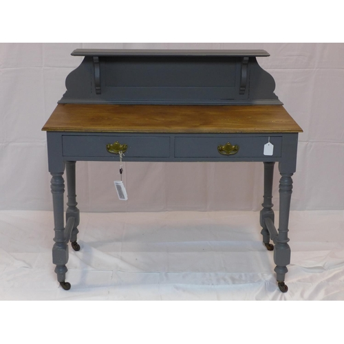 538 - An early 20th century painted clerks desk, with superstructure over 2 drawers, raised on turned legs...