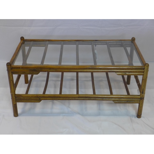 541 - A 20th century bamboo coffee table with glass top, H.46 W.96 D.51cm...