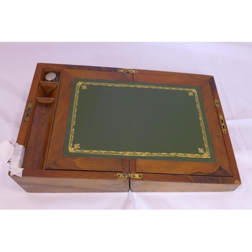 544 - A Victorian walnut writing slope with fitted interior, H.14 W.30 D.23cm...
