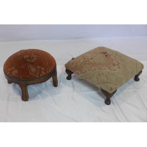 547 - A Kelim upholstered foot stool, together with one other...