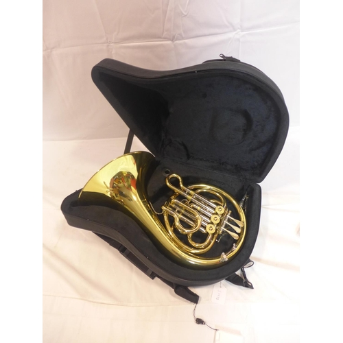757 - A Paxman 'Studenti' brass French horn with fitted carry case...