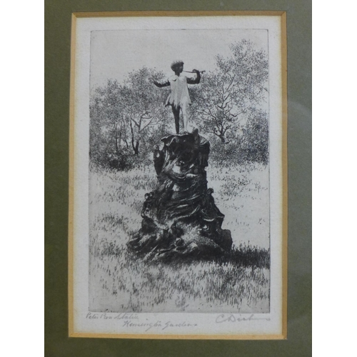 29 - Three signed prints to include an early 20th century etching of the peter pan statue signed C. Dicke...