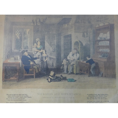 39 - A collection of prints, to include a Victorian hand-coloured print of 'Sickness and Repentance', 21 ...