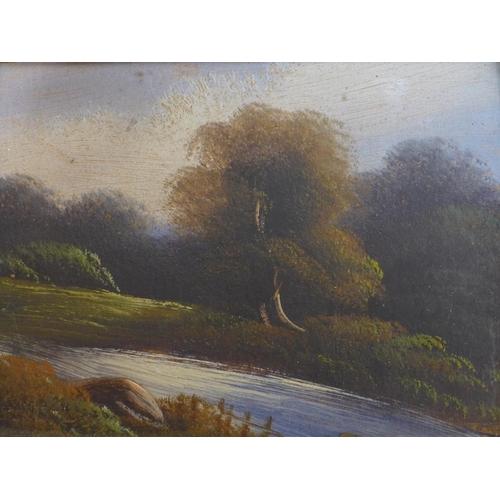 47 - A set of four Victorian oils on board, landscapes, in gilt frames, 15 x 20cm...
