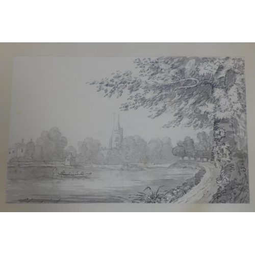 123 - A set of six late 18th/early 19th century pencil and watercolour drawings of London scenes, Chiswick...