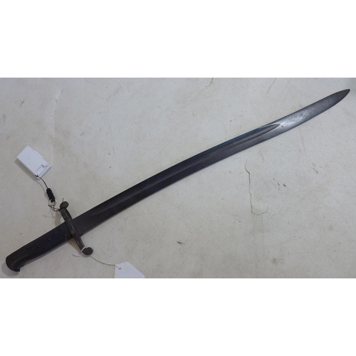 128 - A British Pattern 1855 Volunteer Lancaster sword bayonet without scabbard, L.71cm...