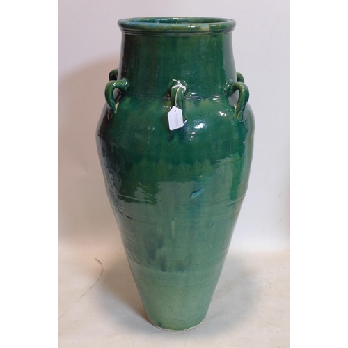 282 - A large Persian green glazed Sharab wine vessel, H.90cm...