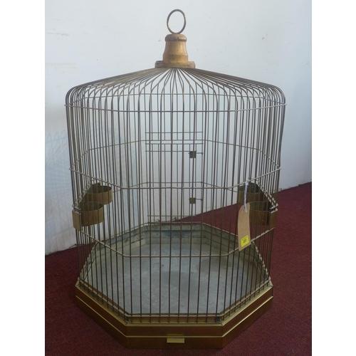 28 - A Victorian octagonal brass birdcage, H.96 W.65 D.65cm...
