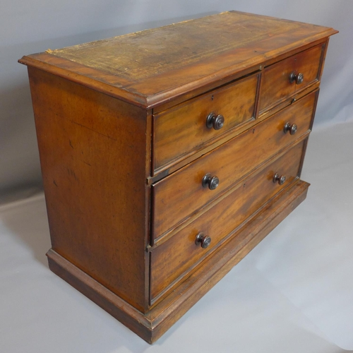 3 - A Victorian mahogany chest of 2 short over 2 long drawers, with leather top, H.91 W.127 D.55cm...