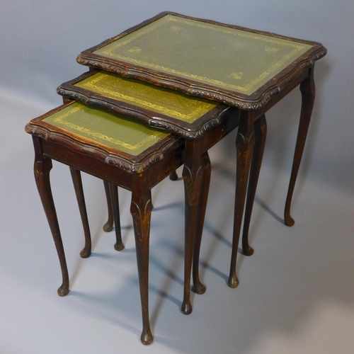 6 - An early 20th century mahogany nest of 3 tables, on cabirole legs...