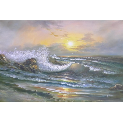 8 - H. Gailey (20th century school), Seascape, signed lower right, 122 x 183cm...