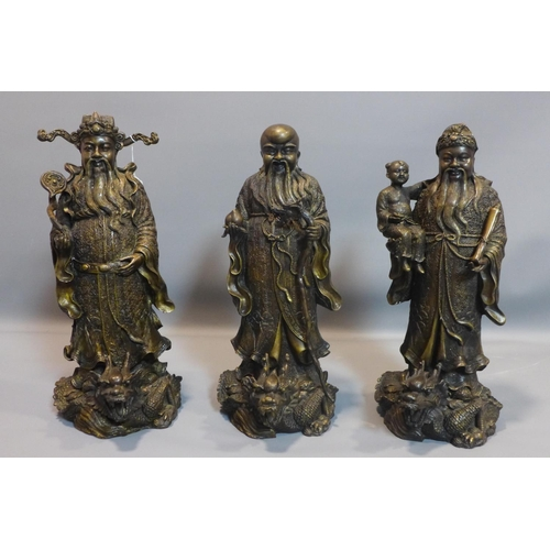 9 - Three Chinese cast bronze figures of the Sanxing (Three Stars), to include Prosperity (Fu), Status (...