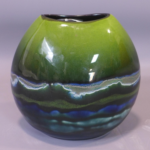 10 - A Poole pottery Maya purse vase, marked to base, signed JB (possibly Jane Brewer), H.19 W.21cm...