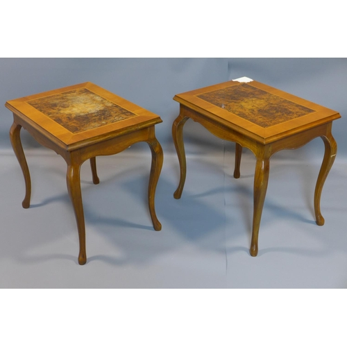 15 - A pair of walnut lamp tables, H.52 W.55 D.40cm...