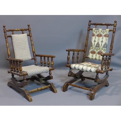 19 - A near pair of child's rocking chairs...