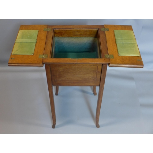 46 - An Edwardian inlaid mahogany sewing table, on outswept legs, H.75 W.40 D.40cm...