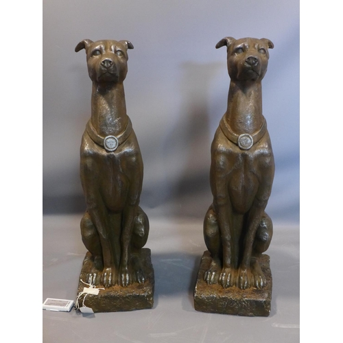272 - A pair of terracotta seated greyhounds, H.80cm...