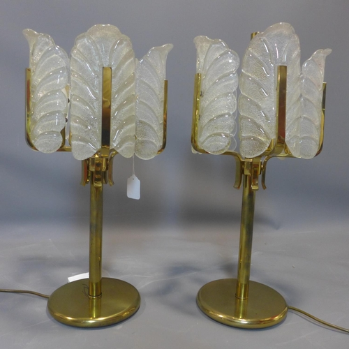 116 - A pair of 1960's Carl Fagerlund for Orrefors table lamps, with textured glass shades modelled as lea...