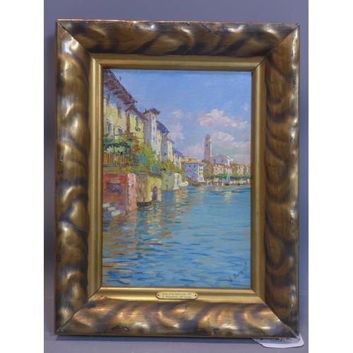 139 - G. Bonardi (19th century Italian school), 'Views Lake Garda, Salo', inscribed to verso, in giltwood ...