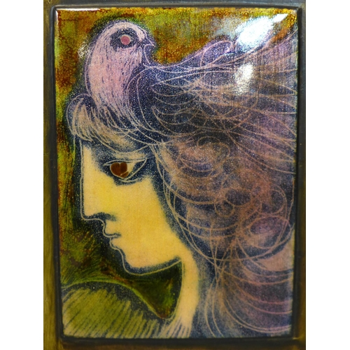 141 - Peter Campbell (British, 1931-1989), 'Girl with a Pink Bird', enamel on copper, signed and dated 198...