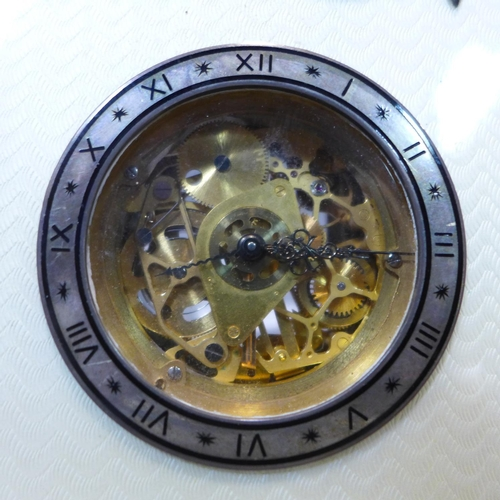 181 - A silver and cloisonne enamelled table clock, with skeletonised dial with Roman chapter ring, having...