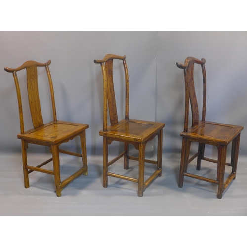 504 - A set of 6 Chinese Ming elm dining chairs, officially stamped for authenticity with red wax seals to...
