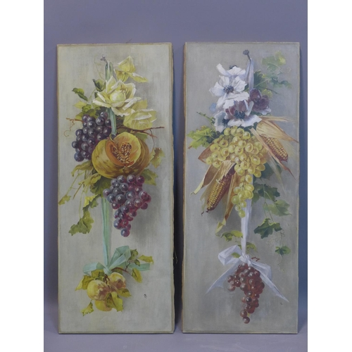 549 - Early 20th century French school, a pair of still life studies fruit and flowers, oil on canvas, mon...