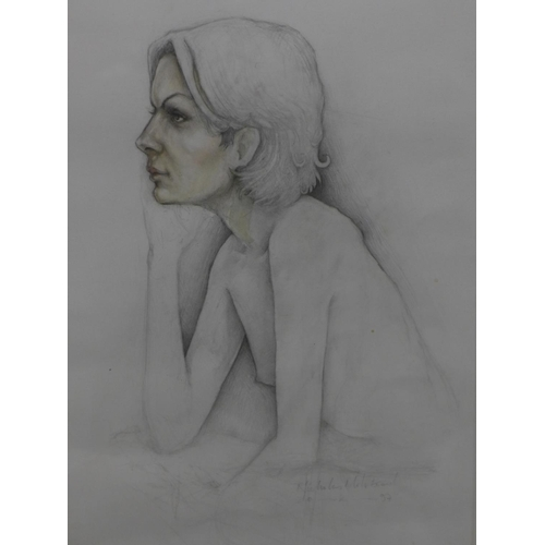 569 - Late 20th century school, Portrait of a Nude Lady, pencil and watercolour, signed Nicholas Molstead ...