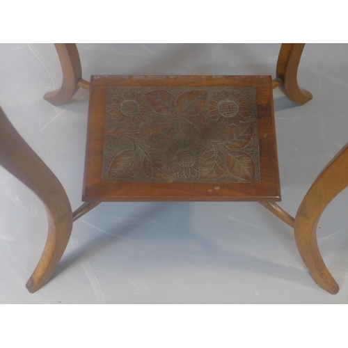 588 - A carved mahogany 2 tier centre table H.72 W.53 D.39cm...