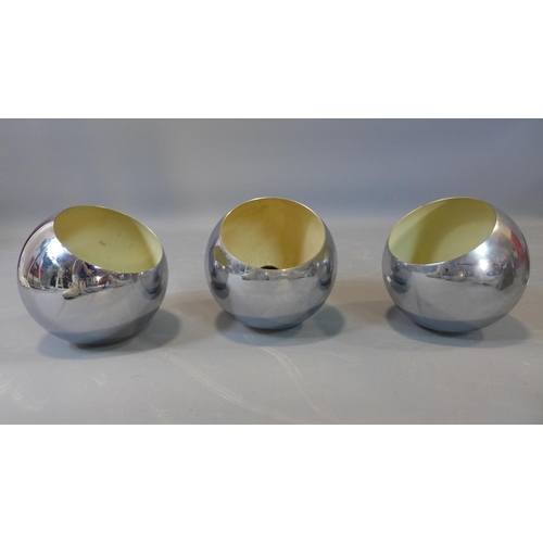 591 - 3 French metal wall planters and 3 vintage chrome light fittings...