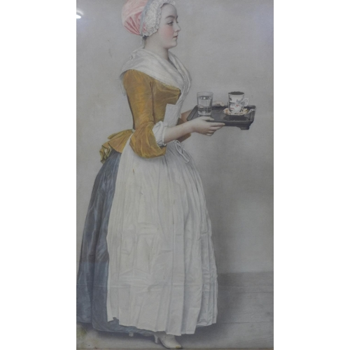 634 - Withdrawn A print of a maid carrying a tray, in glazed giltwood frame, 68 x 41cm...