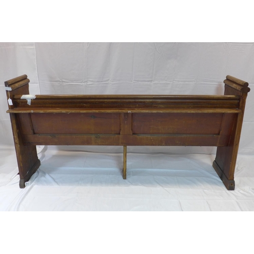 531 - A pine church pew, H.96 W.188 D.60cm...
