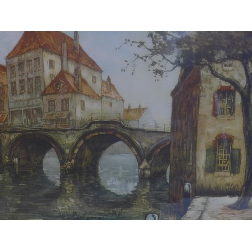 545 - After Walter Joseph Neuhof, 'The Old Bridge in Town', art print, framed and glazed, 43 x 53cm, toget...