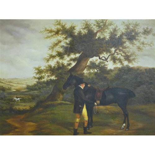 500 - Colin Muirhead, Horse and rider beneath an oak in an British landscape, oil on canvas, in gilt frame...